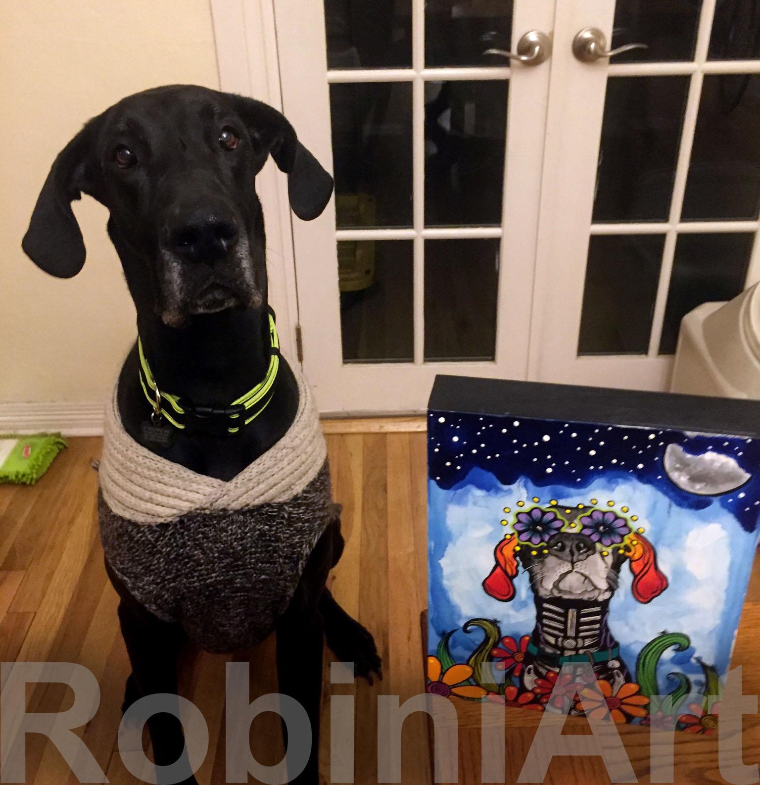 Great Dane with custom RobiniArt Portrait. ©RobiniArt 2016
