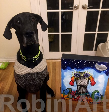 Great Dane with custom RobiniArt Portrait. ©RobiniArt 2016