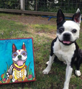 Gilroy the Boston Terrier with his RobiniArt portrait