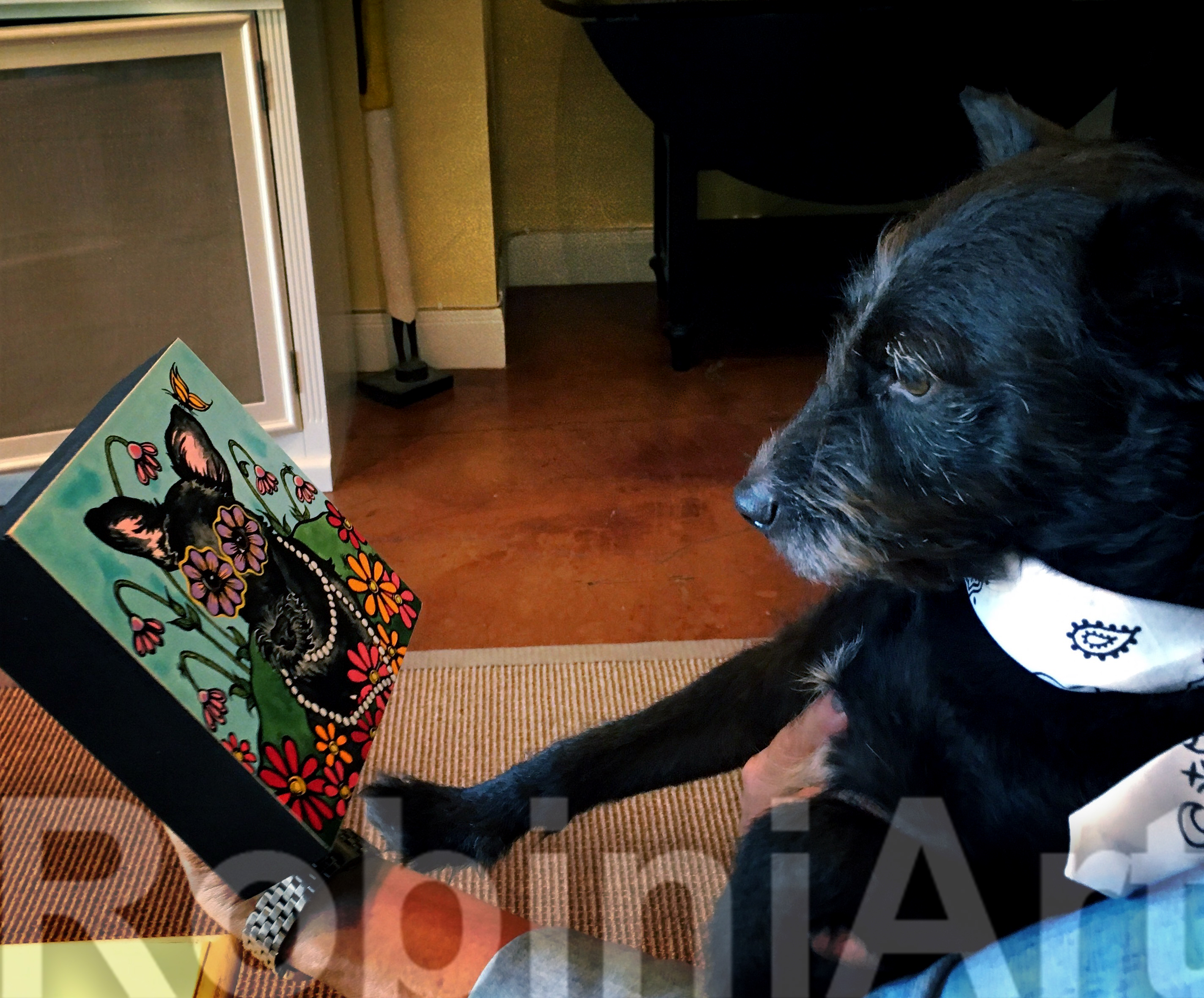 Pet Portrait of a Terrier by Robin Arthur of RobiniArt