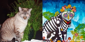 RobiniArt Pebbles the Cat before and after