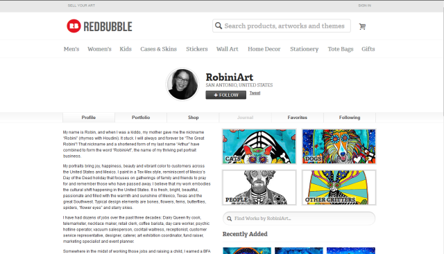 Click here to purchase my art on tote bags, throw pillows, t-shirts and more from Redbubble!