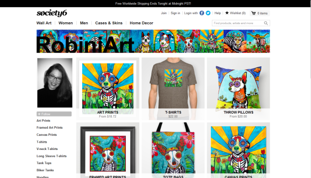 Click here to purchase high end throw pillows, apparel, tote bags and art prints from Society6!