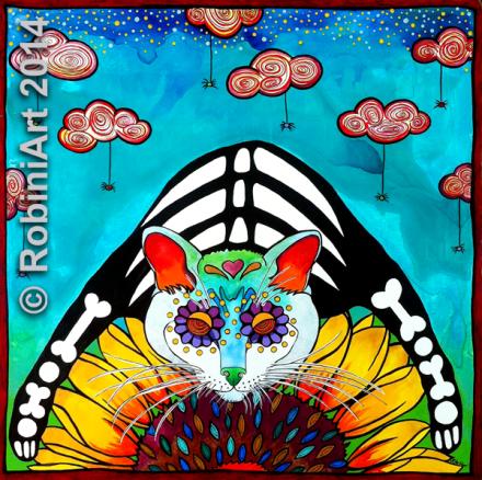 RobiniArt Portrait of Kiwi the Cat copyright 2014