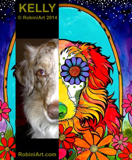 RobiniArt portrait of Kelly the Australian Shepherd, copyright RobiniArt 2014
