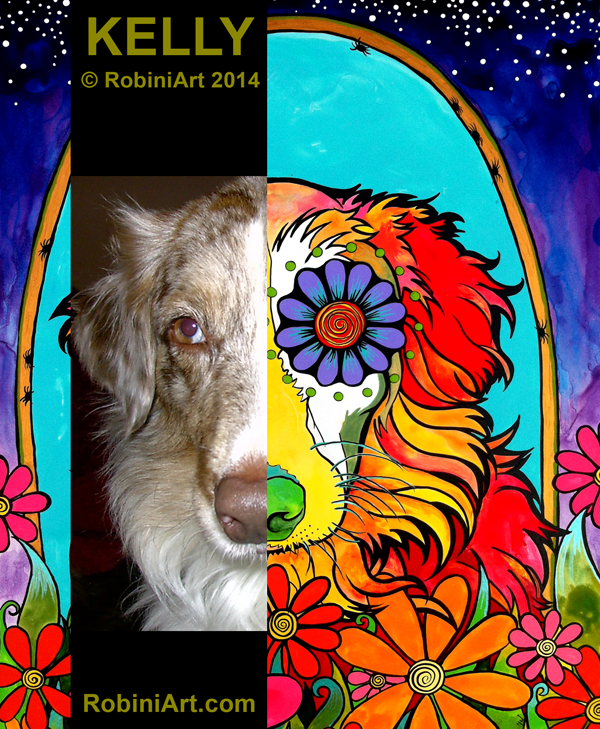 RobiniArt portrait of Kelly the Australian Shepherd, copyright RobiniArt 2014