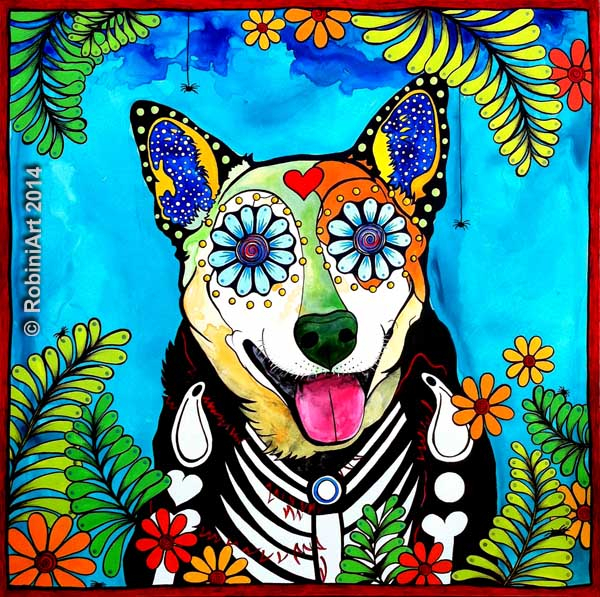 RobiniArt portrait of Reyna the Heeler. © RobiniArt 2014