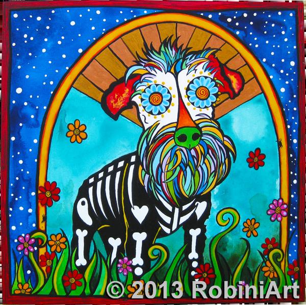 RobiniArt portrait of Repo the Mini Schnauzer, copyright RobiniArt 2013