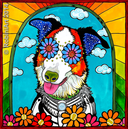 RobiniArt pet portrait of Benny the Border Collie, copyright RobiniArt 2014