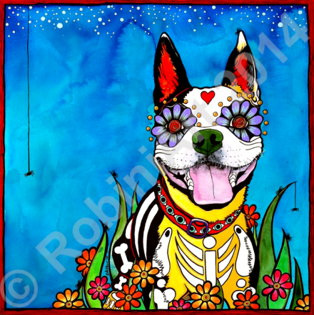 RobiniArt portrait of Gilroy the Boston Terrier copyright 2014