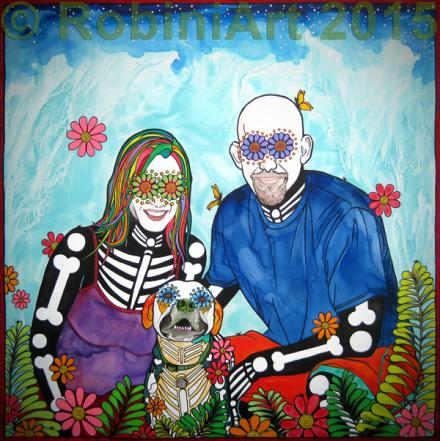 RobiniArt portrait of Tara, Wallace and Aaron, © RobiniArt 2015