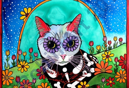 RobiniArt portrait of Gracie the Cat