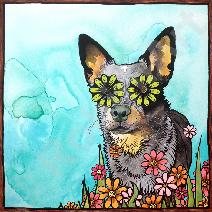 RobiniArt portrait of Sookie the Heeler copyright RobiniArt 2015