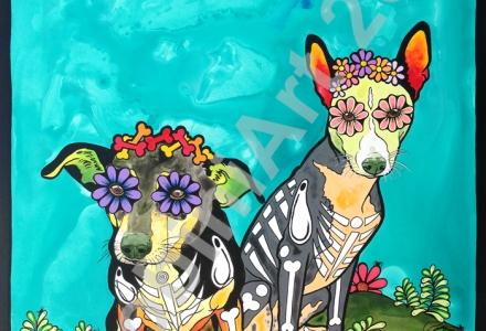 Custom acrylic portrait of two dogs