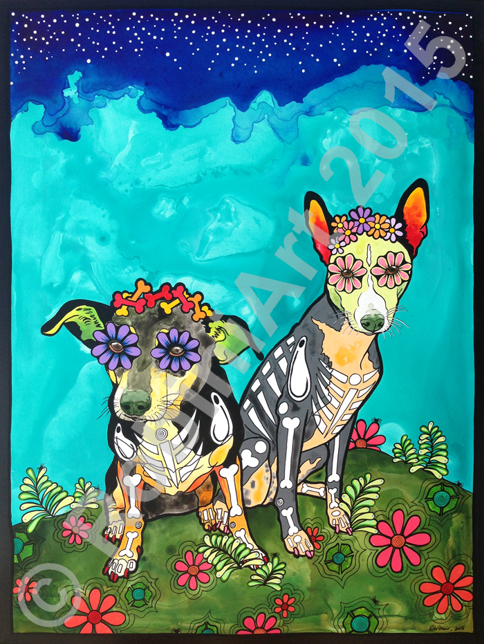 Custom acrylic portrait of two dogs