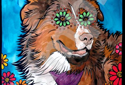 RobiniArt portrait of Australian Shepherd 2015
