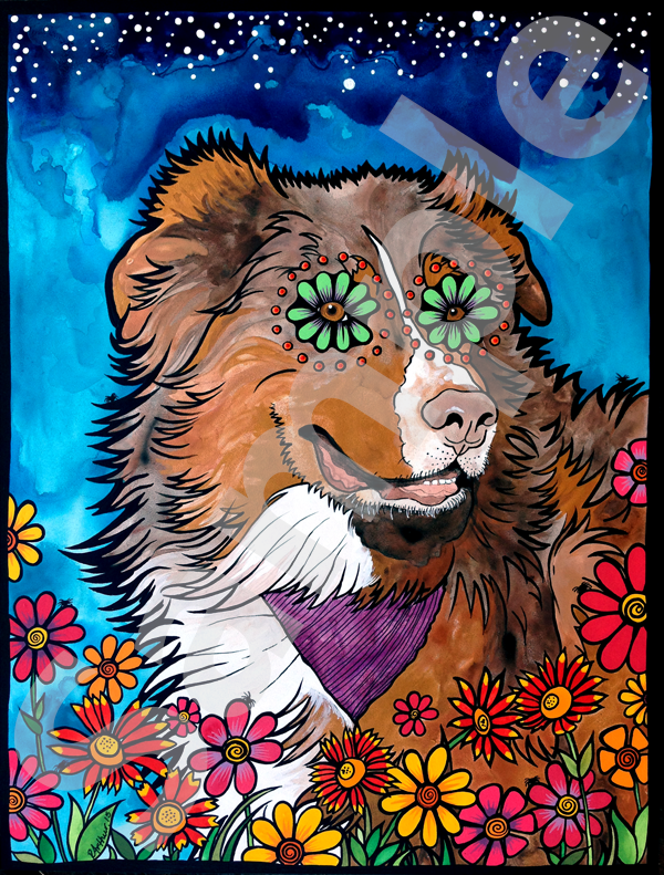 RobiniArt portrait of Australian Shepherd 2015