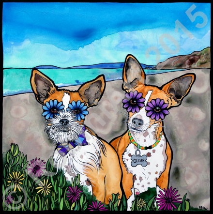 RobiniArt portrait of two Chihuahua Terrier mixes named Olive and Simon, © RobiniArt 2015