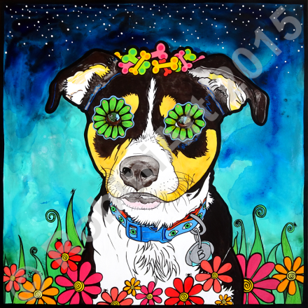 RobiniArt portrait of Birdie the Mixed Breed Dog, © RobiniArt 2015