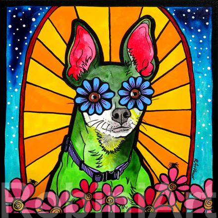 RobiniArt Portrait of a Chihuahua Miniature Pinscher mixed breed dog, copyright RobiniArt 2015