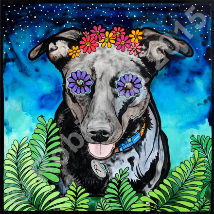 RobiniArt portrait of Ruby the Mixed Breed Dog, © RobiniArt 2015