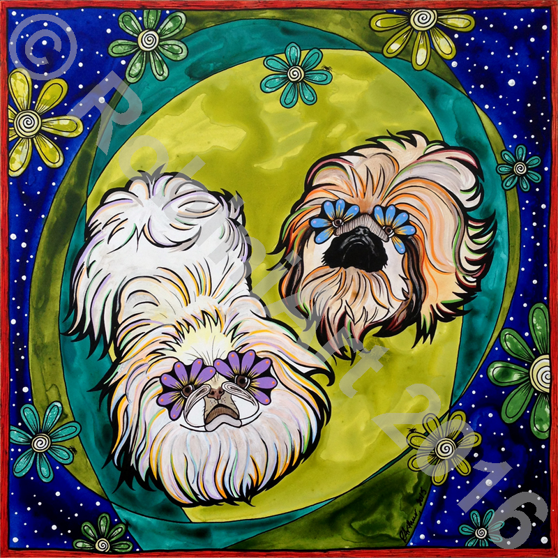 Portrait of two Pekingese dogs by RobiniArt