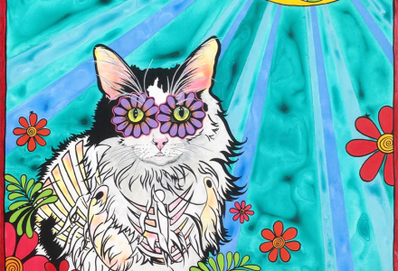 RobiniArt custom pet portrait of a cat named Swimfetch