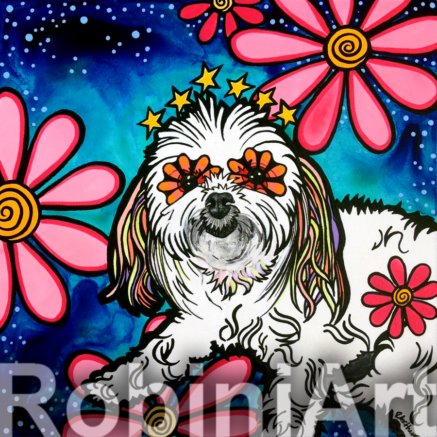 RobiniArt acrylic painting of a Maltese named Morticia