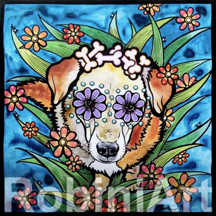 RobiniArt pet portrait of a Labrador retriever mix dog