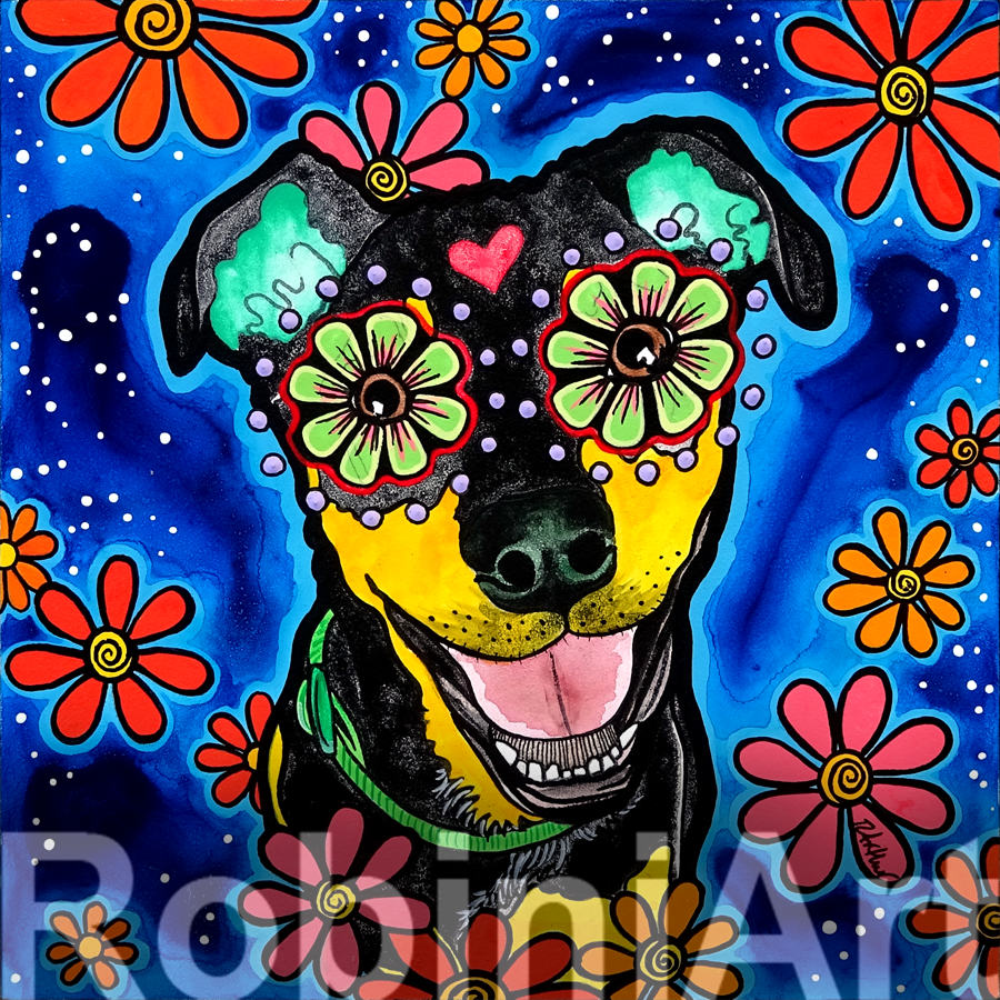RobiniArt Millie Mixed Breed Acrylic pet portrait