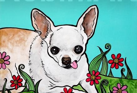 Chihuahua named Pinky, RobiniArt acrylic portrait