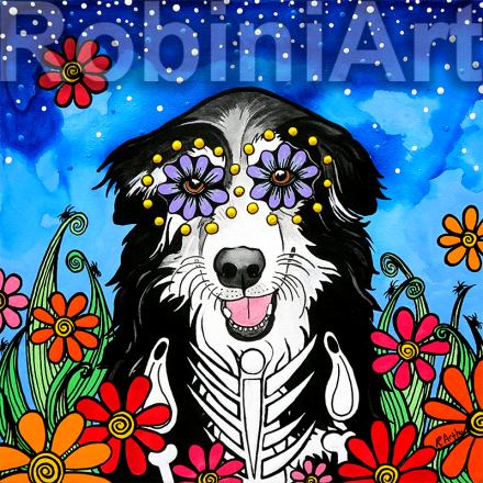 Border Collie custom pet portrait RobiniArt