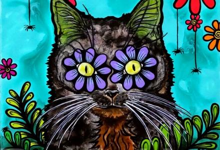Cat portrait illustration by RobiniArt