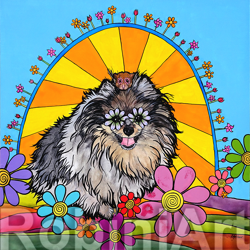 Pomeranian and Hamster Portrait by Robin Arthur aka RobiniArt ©RobiniArt 2016