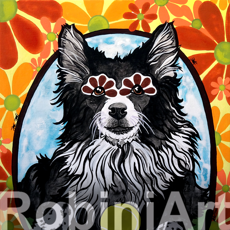 Border Collie Custom Portrait by Robin Arthur, aka © RobiniArt 2016