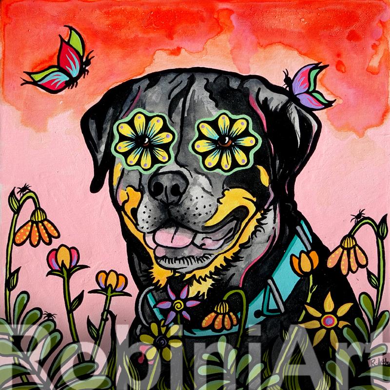 Rottweiler Custom Portrait by Robin Arthur © RobiniArt, 2016
