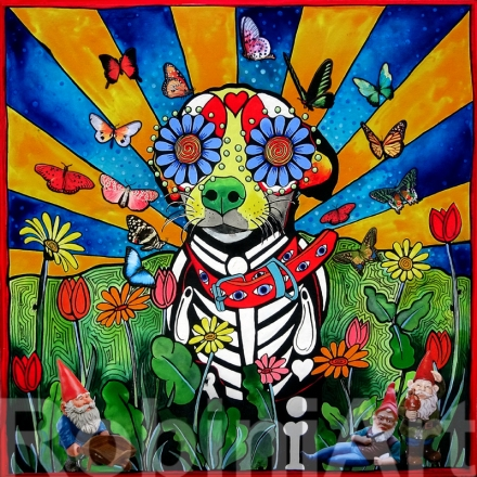 Sugar Skull Chihuahua Gnome Collage by Robin Arthur RobiniArt