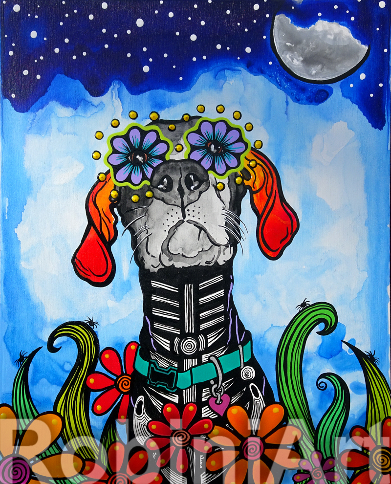 Great Dane custom painting by RobiniArt, ©RobiniArt 2016