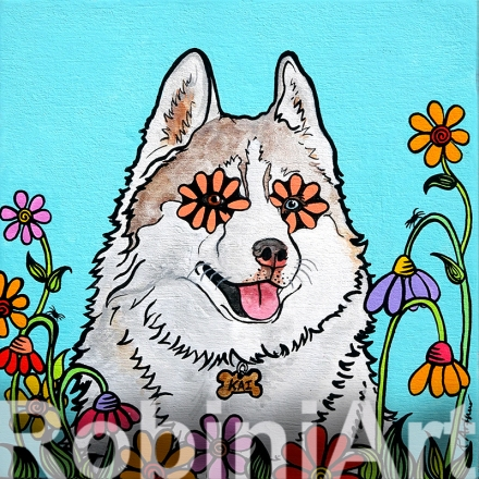 Siberian Husky Custom Painting Portrait RobiniArt ©RobiniArt 2016