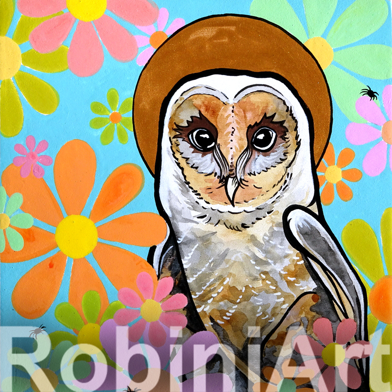 Barn Owl Painting ©RobiniArt 2016