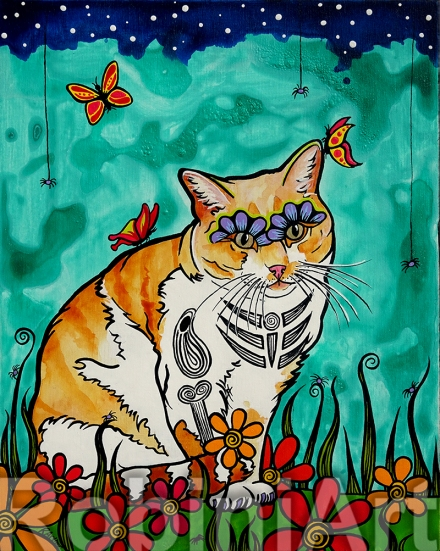 Orange and White Cat Custom Pet Portrait RobiniArt