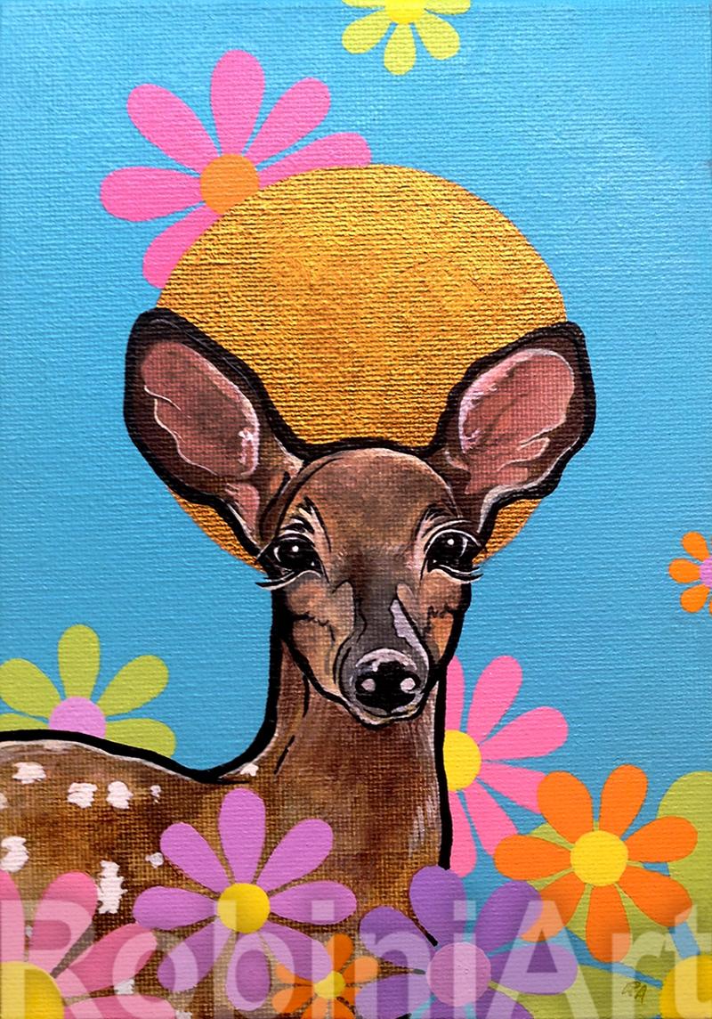 Deer painting by Robin Arthur, RobiniArt