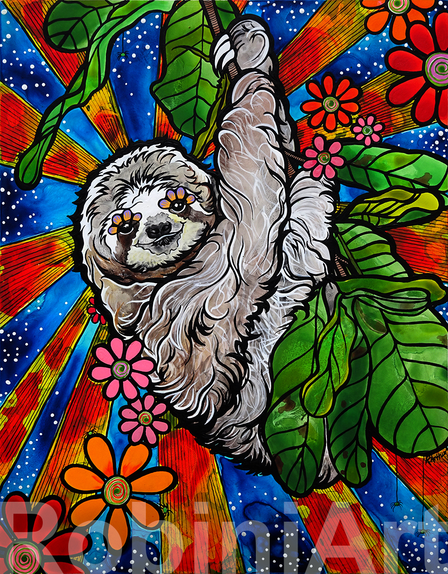 Sloth Portrait by Robin Arthur © RobiniArt 2017