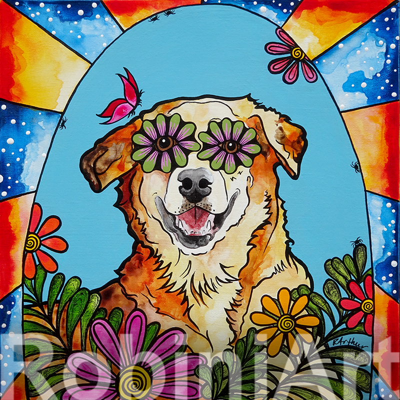 Soi Dog portrait, Sadie, by Robin Arthur, aka RobiniArt