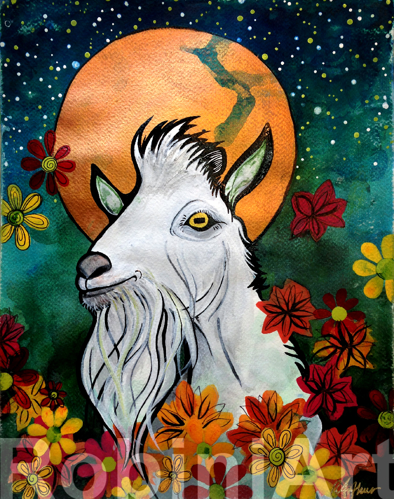 Billy Goat Portrait by Robin Arthur aka RobiniArt 2017