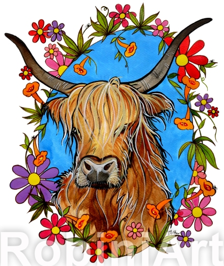 Highland Cattle Painting by RobiniArt