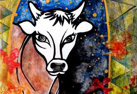 Jersey Cow portrait by Robin Arthur aka RobiniArt