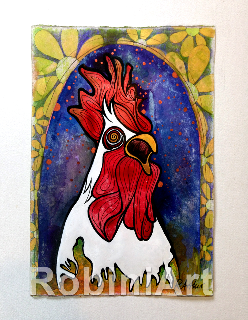 Crowing Rooster Acrylic Painting by Robin Arthur aka RobiniArt