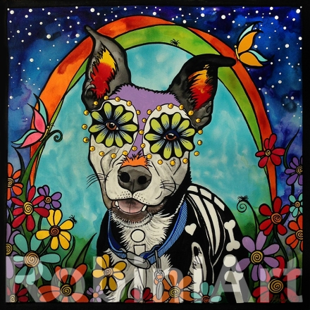RobiniArt pet portrait of a mixed breed dog named Harley