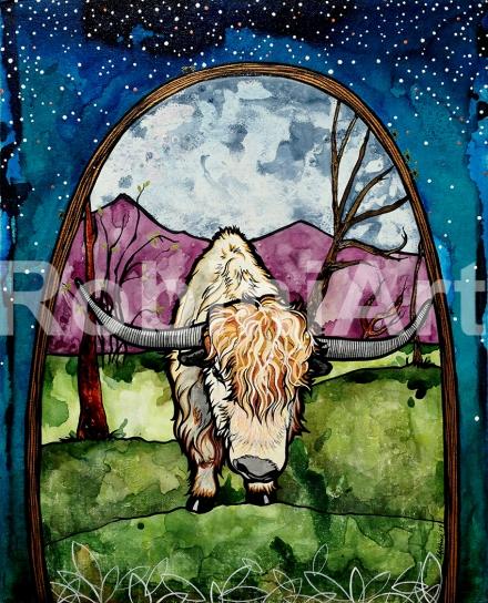 Yak painting by Robin Arthur aka RobiniArt